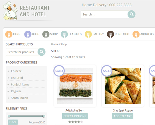restaurant responsive ecommerce wordpress theme