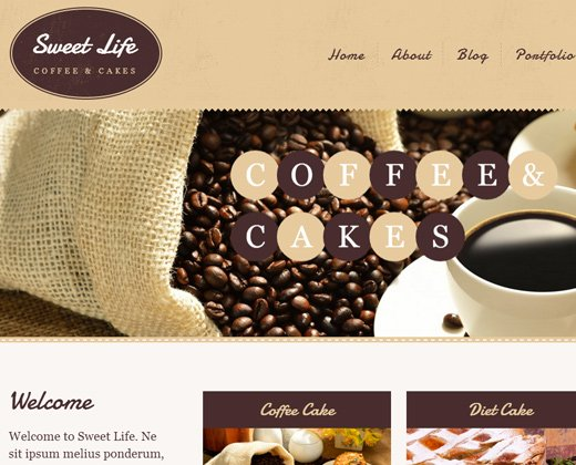 sweet life cafe restaurant wordpress theme