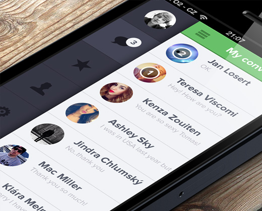 whatsapp iphone flat ui app design