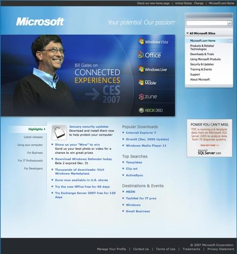Fading corners on Microsoft's website