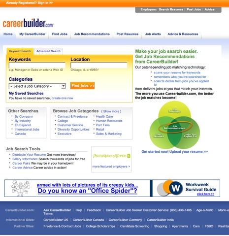 Fading corners on CareerBuilder