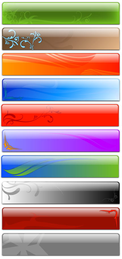 Free Vector Fancy Glass Headers - swirls and swooshes
