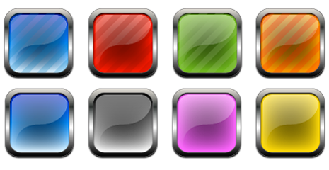 Metal and Glass Free Vector Buttons