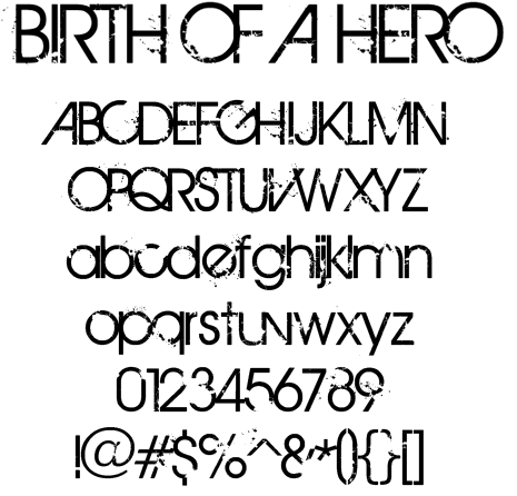 Free Font: Birth of A Hero