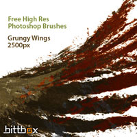 Free High-Res Photoshop Brushes: Grungy Wings