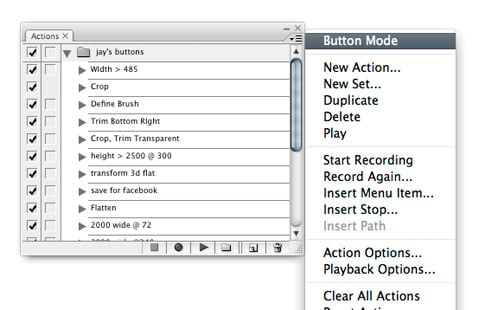 Photoshop 101: Button-Mode Actions