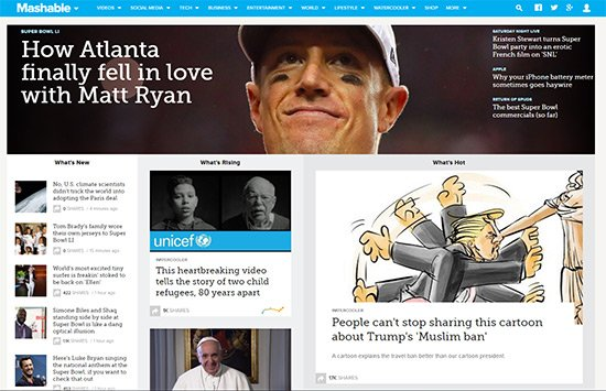 mashable homepage