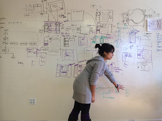 ux designer whiteboard