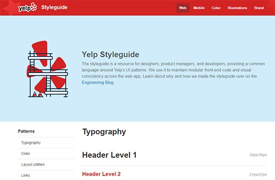 yelp style guide screenshot