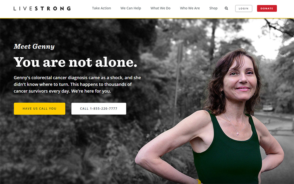 07-livestrong-nonprofit-homepage