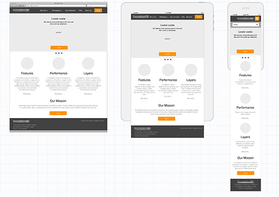 client website wireframe