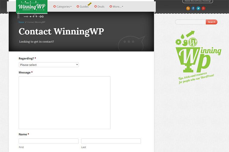 winningwp contact form