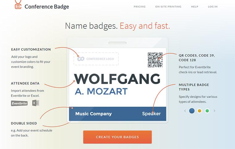 conference badge website
