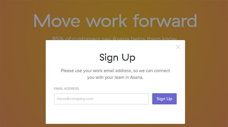 asana signup page