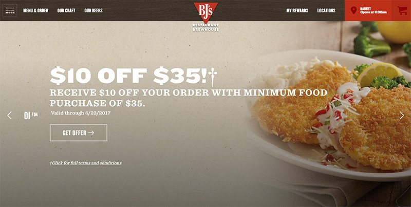 bjs restaurant website