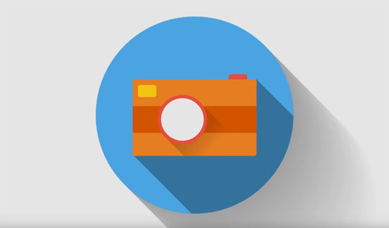 flat shadow camera icon