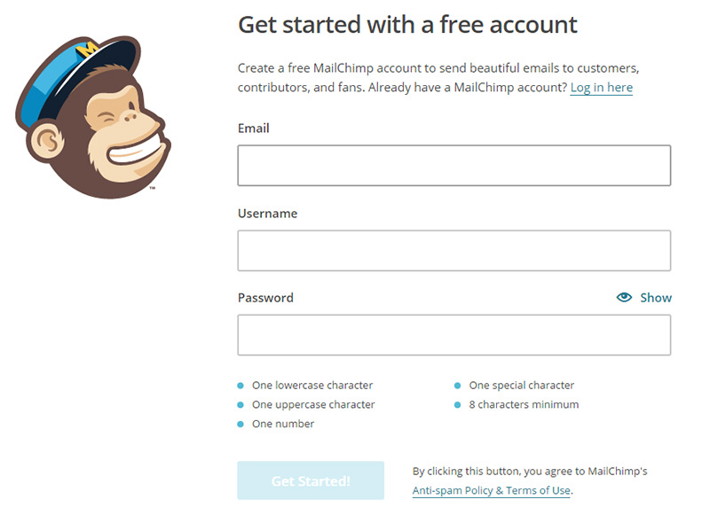 mailchimp registration page