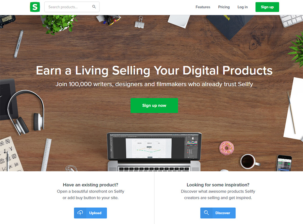 sellfy homepage