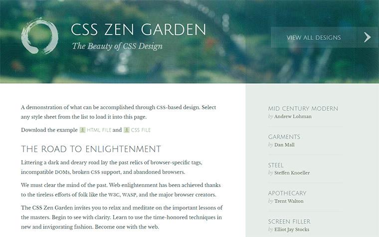 css garden homepage