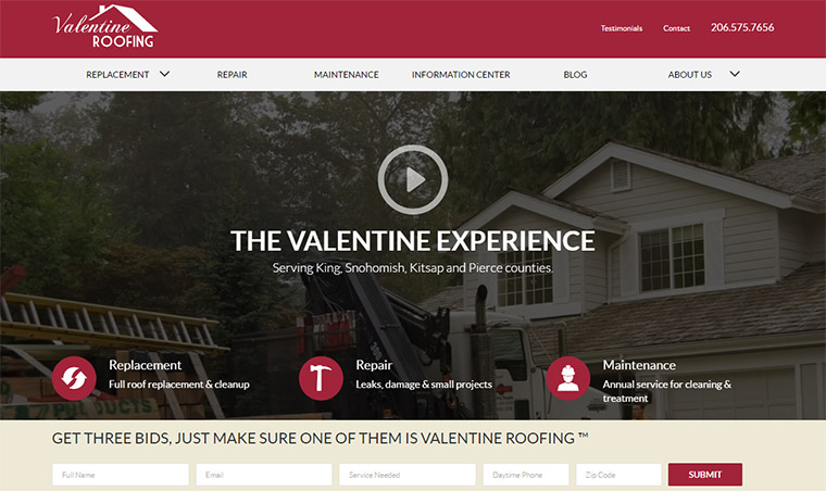 valentine roof homepage