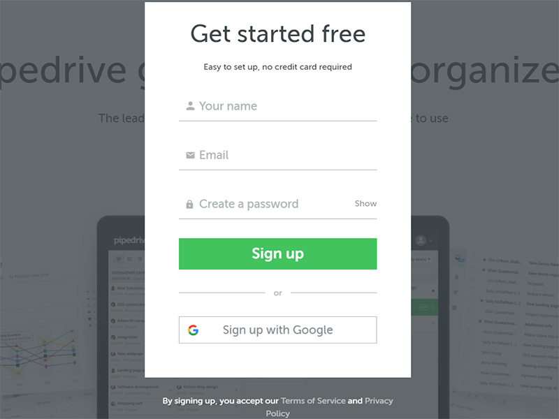 pipedrive register form