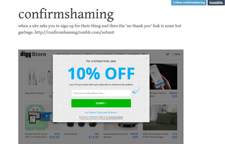 confirm shaming blog