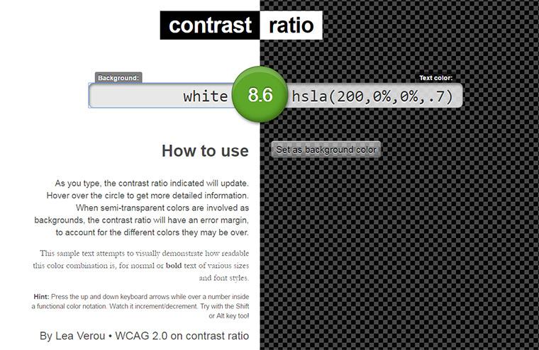 contrast ratio webapp