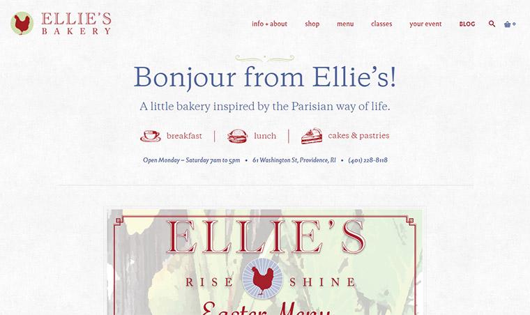 ellies bakery homepage
