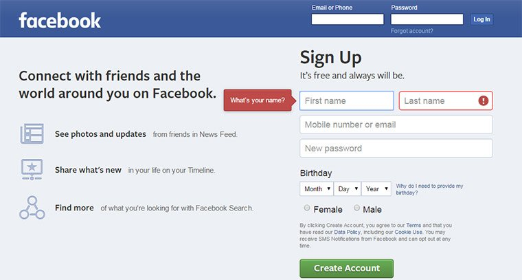 facebook tooltips field