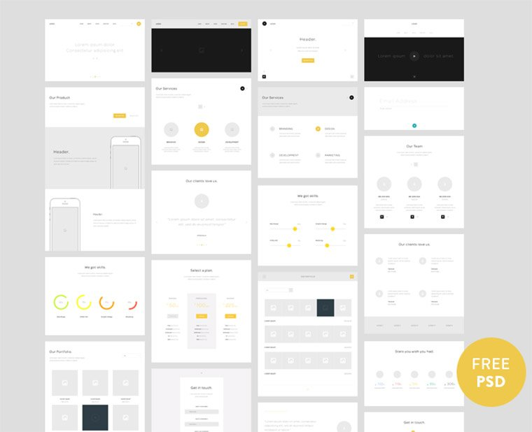 one page wireframing kit