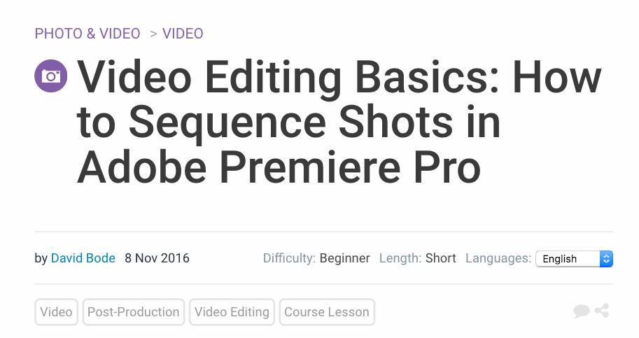 Video Editing Basics Premiere Tutorial