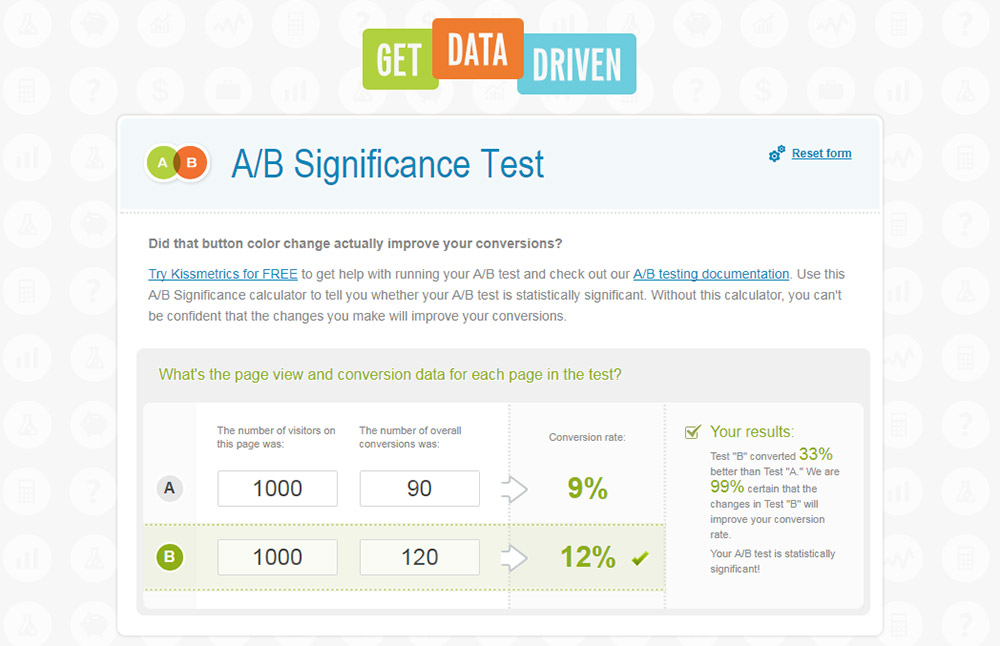 get data driven statsig calc