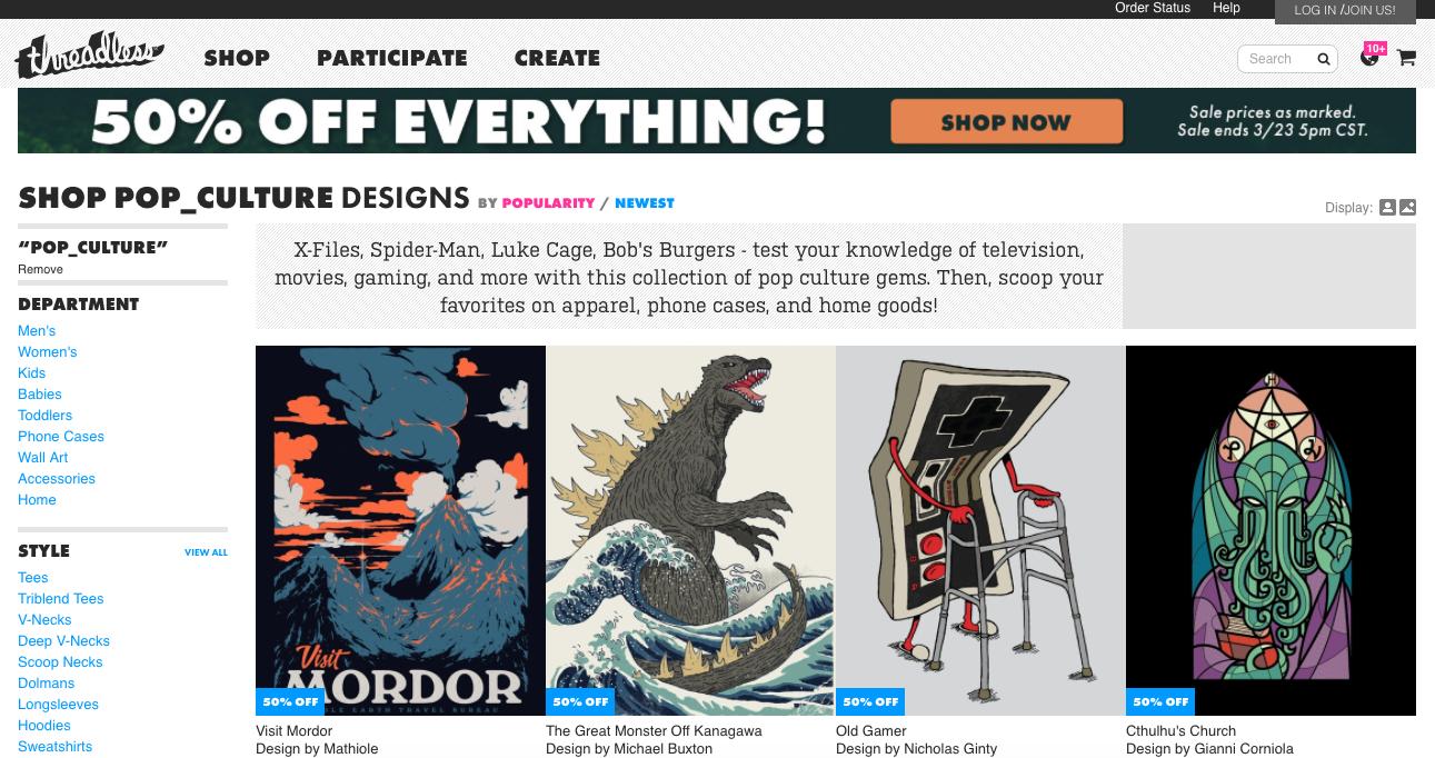 website to find fan art