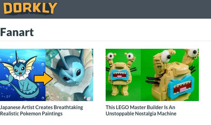 website with fan art