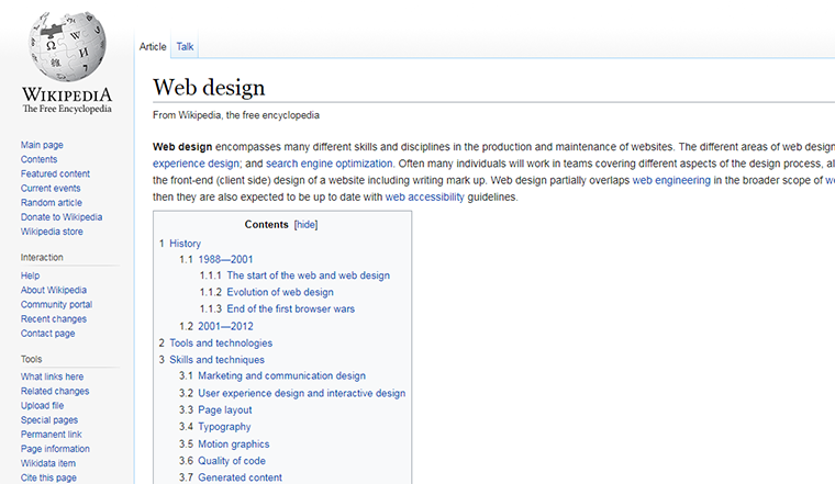 wikipedia table of contents