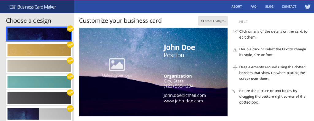 how to make a business card
