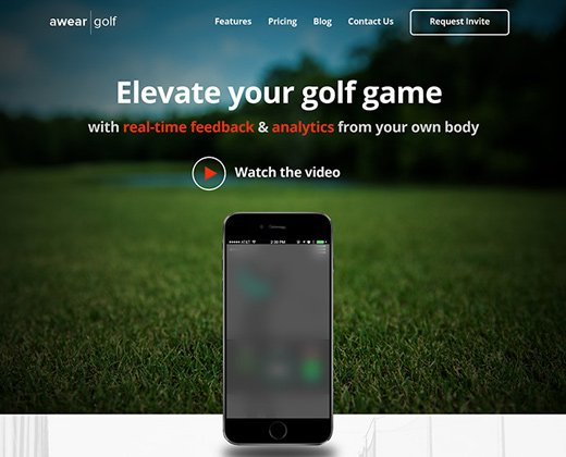 awear golf website landing page
