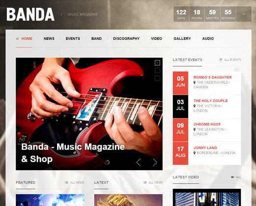 banda wordpress music magazine theme