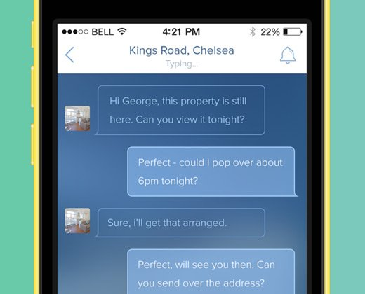 iphone blue chatting interface