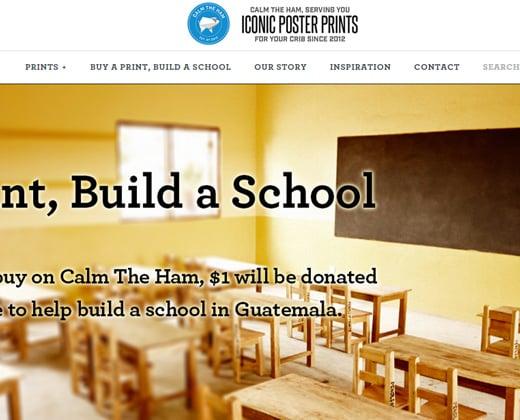 calm the ham shopify fullscreen website layout