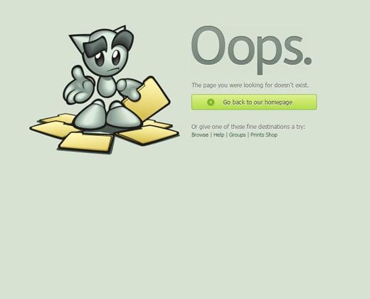 deviantart 404 error design page