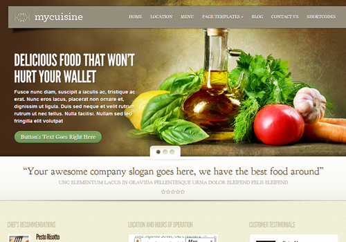 food meals cuisine wordpress theme