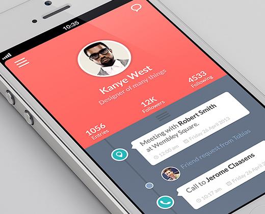 timeline app ui simple iphone