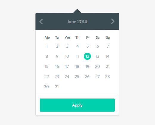 flat date picker tooltip calendar