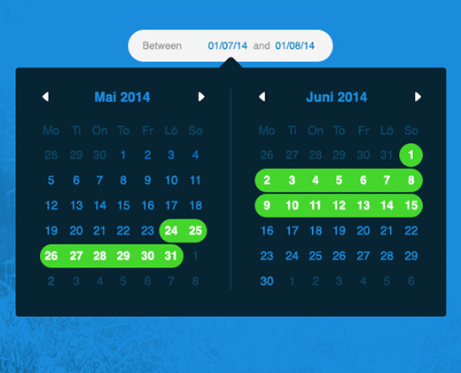 dark blue calendar ui design
