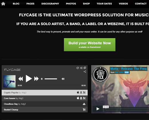 flycase complete music wordpress theme