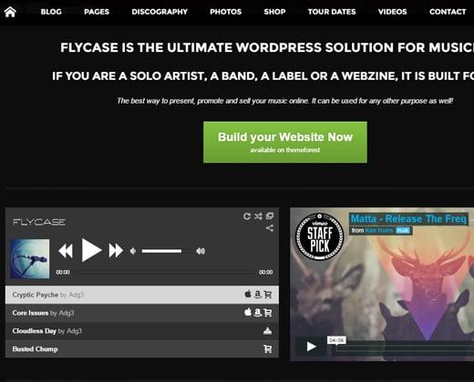 flycase complete music wordpress theme