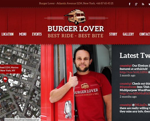 colorful wordpress premium theme food truck burgers