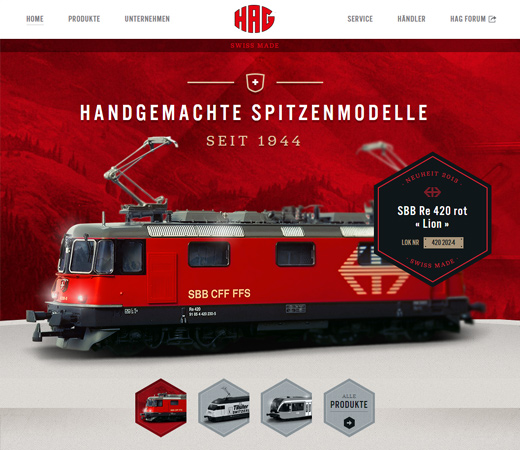 hag swiss german train website landing page
