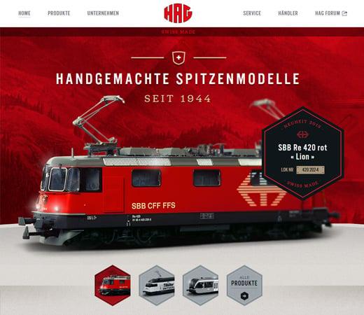hag swiss german train website landing page